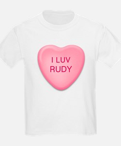 I Luv RUDY Candy Heart Kids T-Shirt