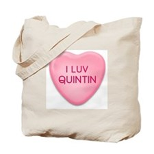 I Luv QUINTIN Candy Heart Tote Bag