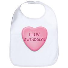 I Luv GWENDOLYN Candy Heart Bib