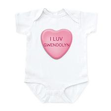 I Luv GWENDOLYN Candy Heart Infant Bodysuit