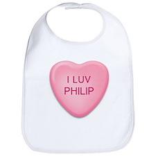 I Luv PHILIP Candy Heart Bib