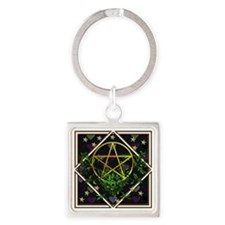 Wiccan Pentacle and Greens Square Keychain