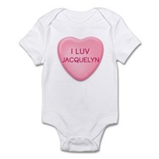 I Luv JACQUELYN Candy Heart Onesie