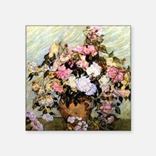 "Van Gogh - Still Life Vase  Square Sticker 3"" x 3"""
