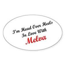 In Love with Melva Oval Decal