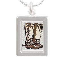 Boots and Spurs Silver Portrait Necklace