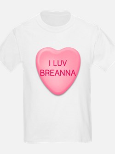 I Luv BREANNA Candy Heart Kids T-Shirt