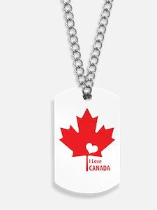 I Love Canada Dog Tags