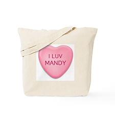 I Luv MANDY Candy Heart Tote Bag