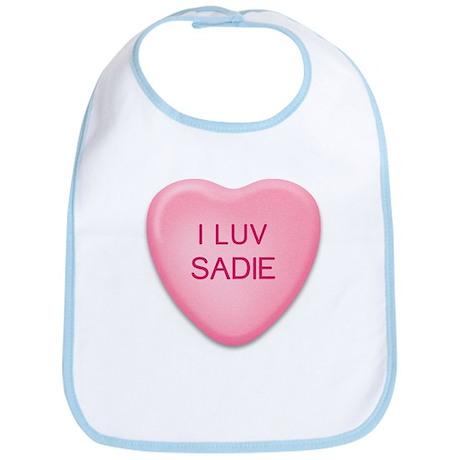 I Luv SADIE Candy Heart Bib