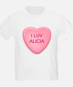 I Luv ALICIA Candy Heart Kids T-Shirt