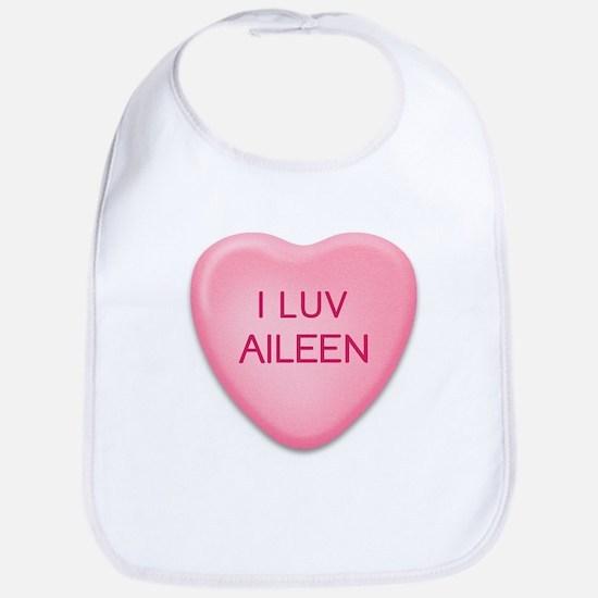 I Luv AILEEN Candy Heart Bib