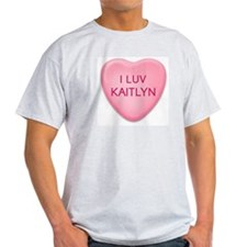 I Luv KAITLYN Candy Heart Ash Grey T-Shirt