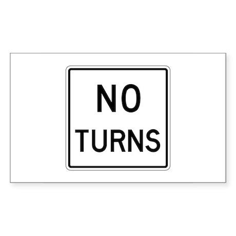 No Turns - USA Rectangle Sticker