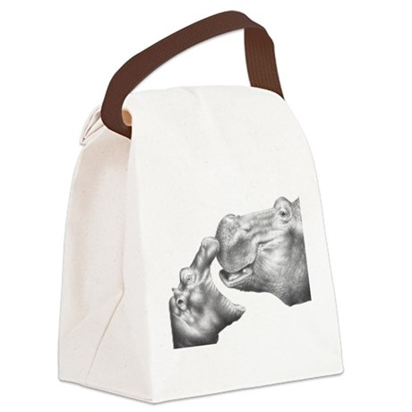 Hippo and Baby Canvas Lunch Bag