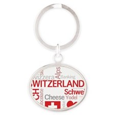 Switzerland2forDark Oval Keychain
