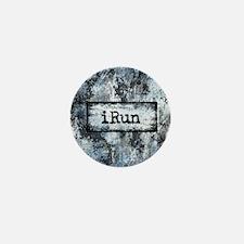 Blue I Run Mini Button