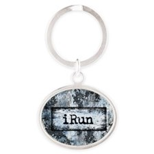 Blue I Run Oval Keychain