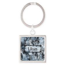 Blue I Run Square Keychain