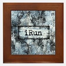 Blue I Run Framed Tile