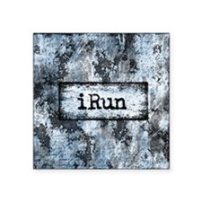 "Blue I Run Square Sticker 3"" x 3"""
