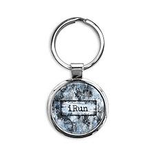 Blue I Run Round Keychain