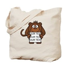 Custom Text Monkey Holding Sign Tote Bag