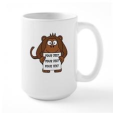 Custom Text Monkey Holding Sign Mugs