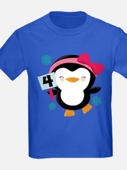 4th Birthday Penguin girl T