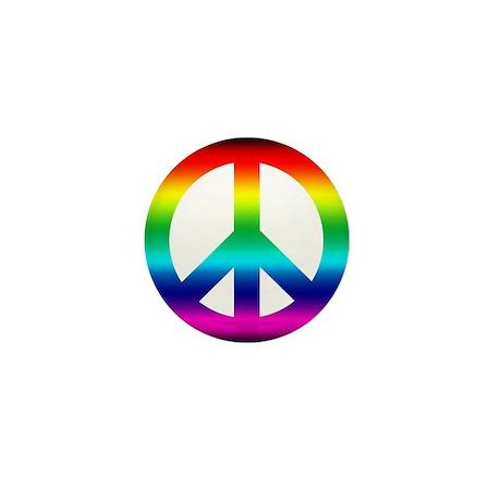 Rainbow Peace Sign Mini Button (100 pack)