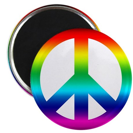 "Rainbow Peace Sign 2.25"" Magnet (100 pack)"