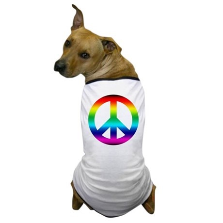 Rainbow Peace Sign Dog T-Shirt