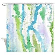 Blue paint splats Shower Curtain