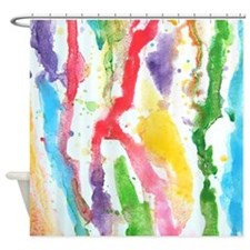 Rainbow Funky Watercolor Shower Curtain