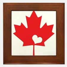 Canada Day Maple Leaf and Heart Framed Tile