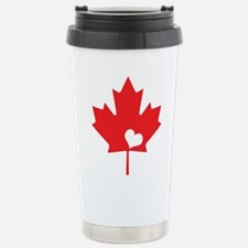 Canada Day Maple Leaf and Heart Travel Mug