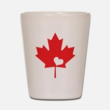 Canada Day Maple Leaf and Heart Shot Glass