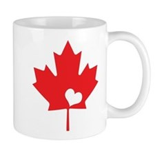 Canada Day Maple Leaf and Heart Mugs