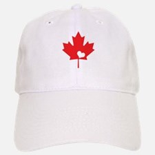 Canada Day Maple Leaf and Heart Baseball Baseball Baseball Cap