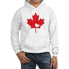 Canada Day Maple Leaf and Heart Hoodie