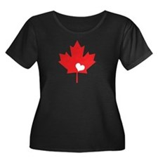Canada Day Maple Leaf and Heart Plus Size T-Shirt