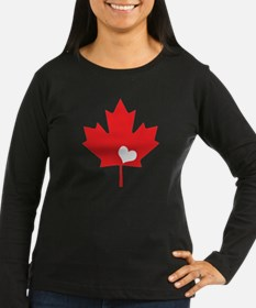 Canada Day Maple Leaf and Heart Long Sleeve T-Shir