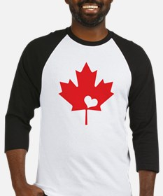 Canada Day Maple Leaf and Heart Baseball Jersey