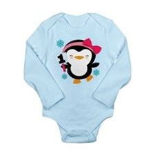 1st Birthday Penguin Girl Long Sleeve Infant Bodys