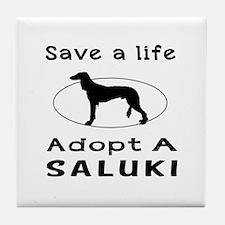 Adopt A Saluki Dog Tile Coaster