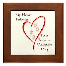 Berner Heart Belongs Framed Tile