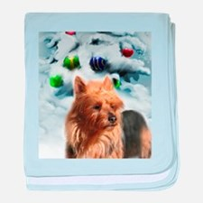 Australian Terrier Christmas baby blanket