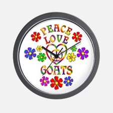 Peace Love Goats Wall Clock