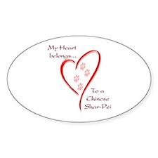 Shar-Pei Heart Belongs Oval Decal