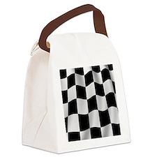 Black Racing Flag Checkerboard Canvas Lunch Bag
